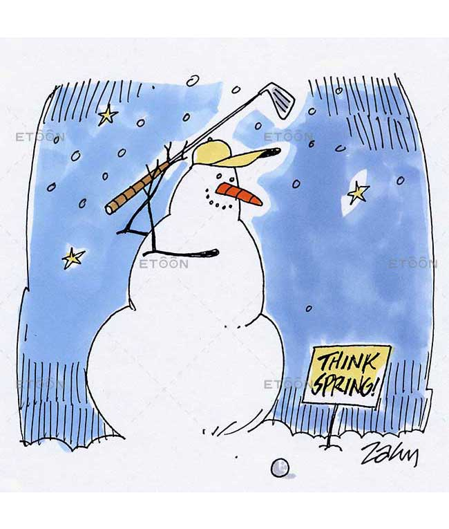 Snowman golf: eToon cartoon for newsletters, presentations, websites, books and more
