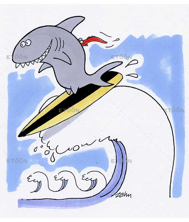 Shark on a surf: eToon cartoon for newsletters, presentations, websites, books and more