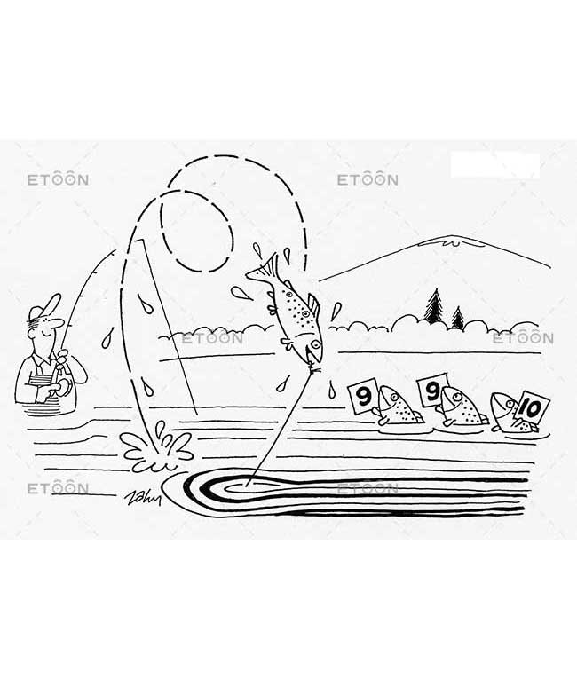 Fishing competition: eToon cartoon for newsletters, presentations, websites, books and more