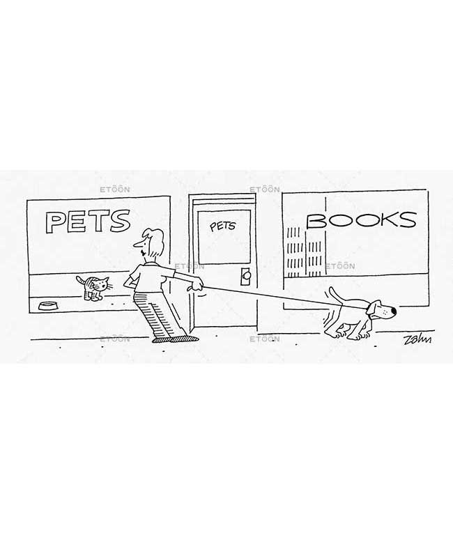 A woman with a dog standing in front of a Pet shop: eToon cartoon for newsletters, presentations, websites, books and more