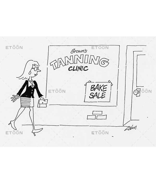 Browns tanning clinic   Bake sale: eToon cartoon for newsletters, presentations, websites, books and more