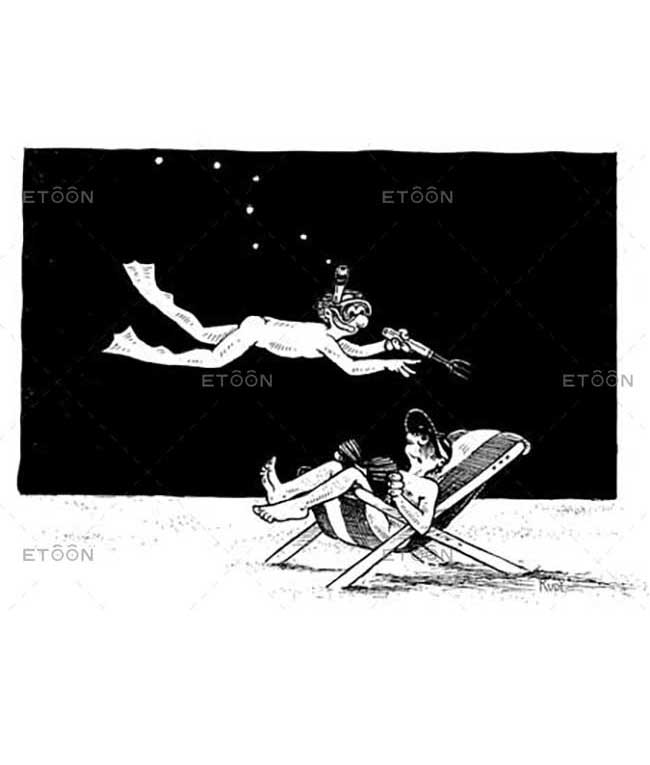 Diver on the beach...: eToon cartoon for newsletters, presentations, websites, books and more