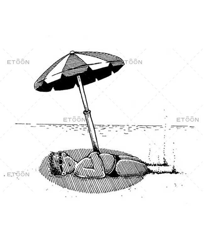 Sun bathing on the ocean beach...: eToon cartoon for newsletters, presentations, websites, books and more