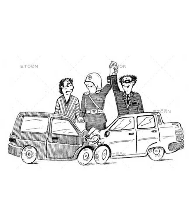 Car Accident: eToon cartoon for newsletters, presentations, websites, books and more
