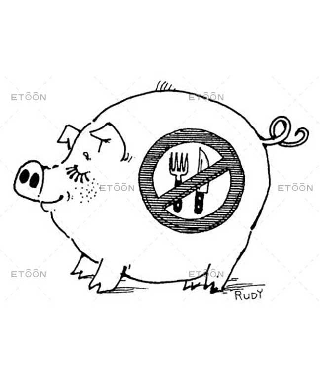 Pig with a sign: eToon cartoon for newsletters, presentations, websites, books and more