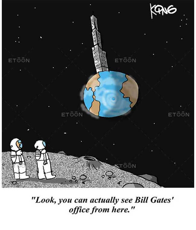 Look, you can actually see Bill Gates office from here.: eToon cartoon for newsletters, presentations, websites, books and more