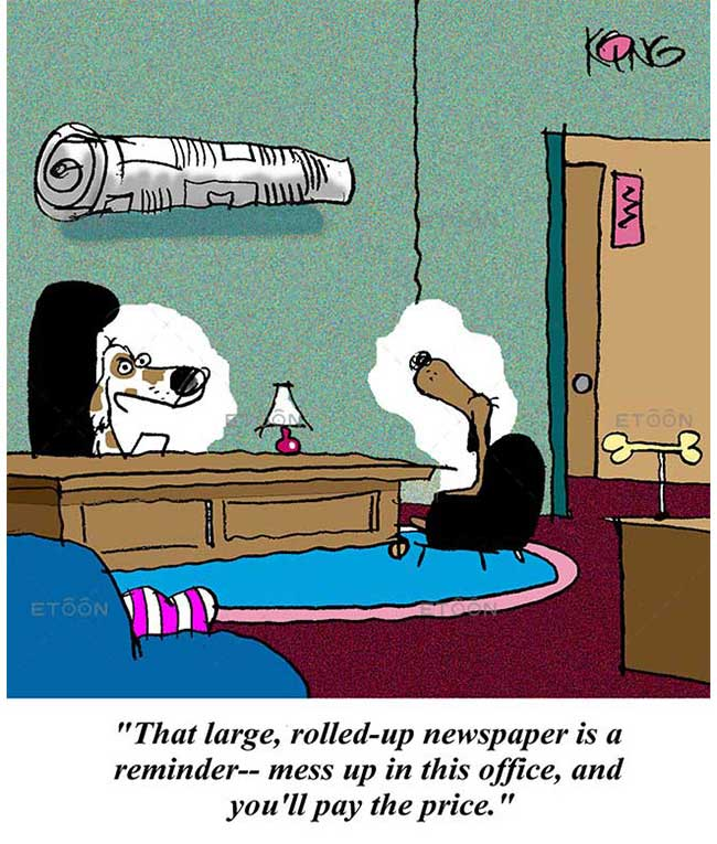 That large, rolled up newspaper is a reminder: eToon cartoon for newsletters, presentations, websites, books and more