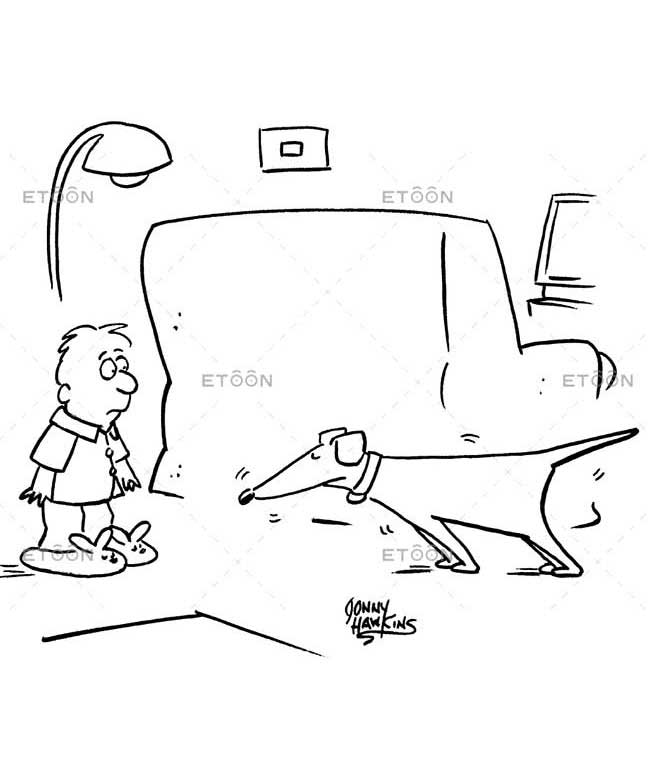 A hunters dog sniffing a kids slippers.: eToon cartoon for newsletters, presentations, websites, books and more