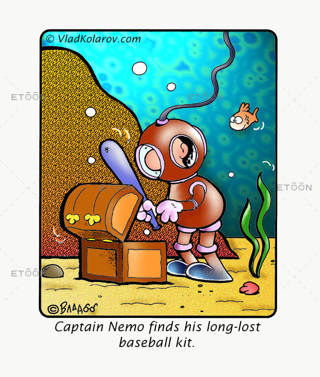 Captain Nemo finds his long lost baseball kit.: eToon cartoon for newsletters, presentations, websites, books and more