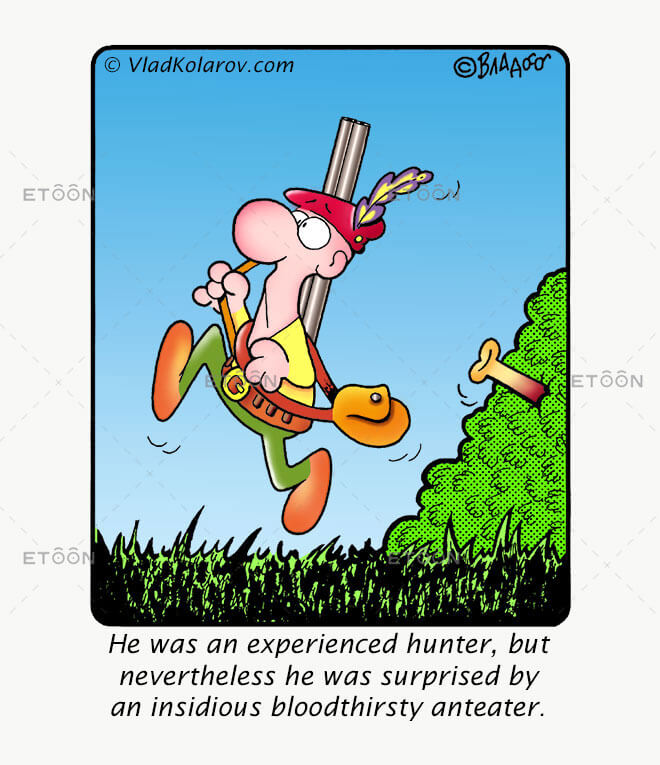 He was an experienced hunter: eToon cartoon for newsletters, presentations, websites, books and more
