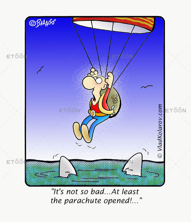 Its not so bad...At least the parachute opened!...: eToon cartoon for newsletters, presentations, websites, books and more