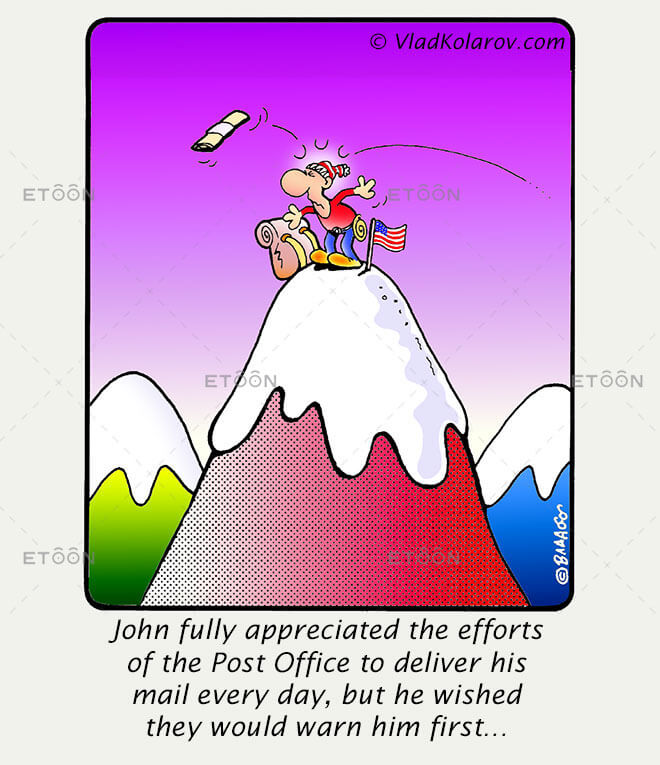 John fully appreciated the efforts of the Post Office to...: eToon cartoon for newsletters, presentations, websites, books and more