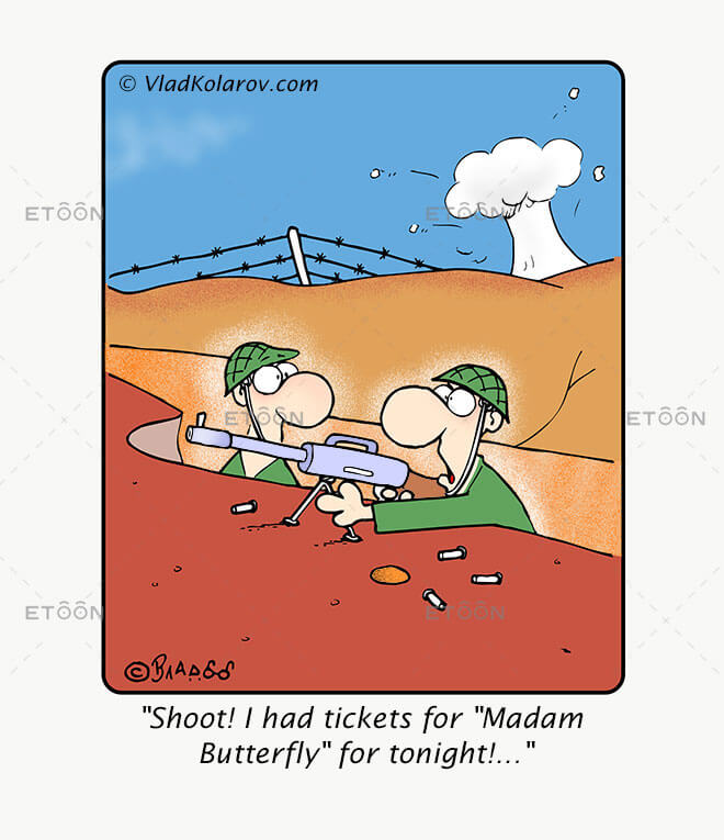 Shoot! I had tickets for Madam Butterfly for tonight!...: eToon cartoon for newsletters, presentations, websites, books and more