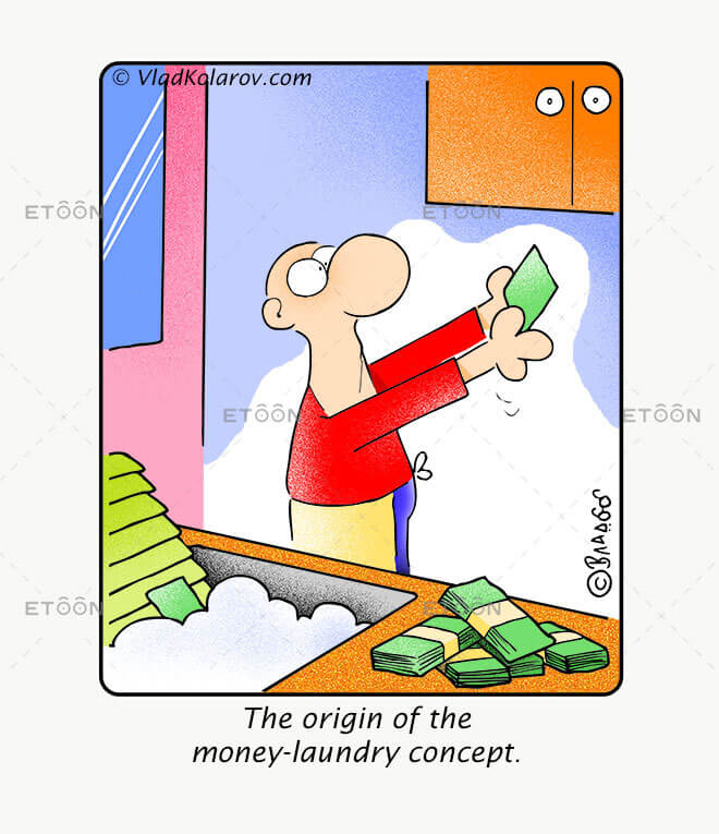 The origin of the money laundry concept.: eToon cartoon for newsletters, presentations, websites, books and more