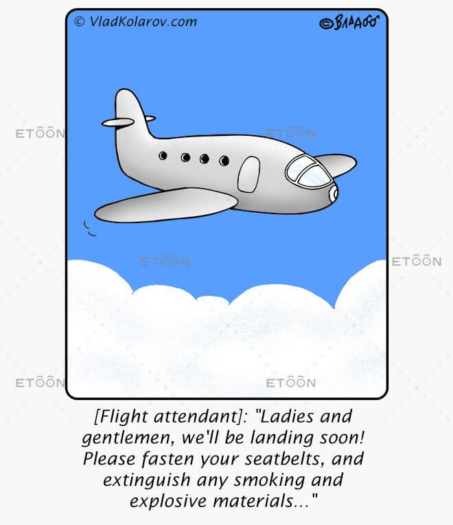 [Flight attendant]: Ladies and gentlemen...: eToon cartoon for newsletters, presentations, websites, books and more