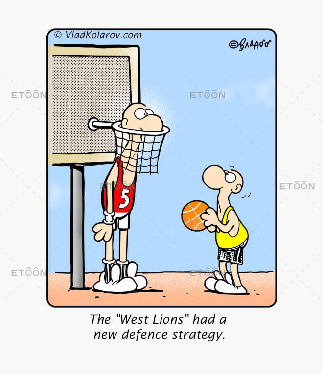 The West Lions had a new defence strategy.: eToon cartoon for newsletters, presentations, websites, books and more