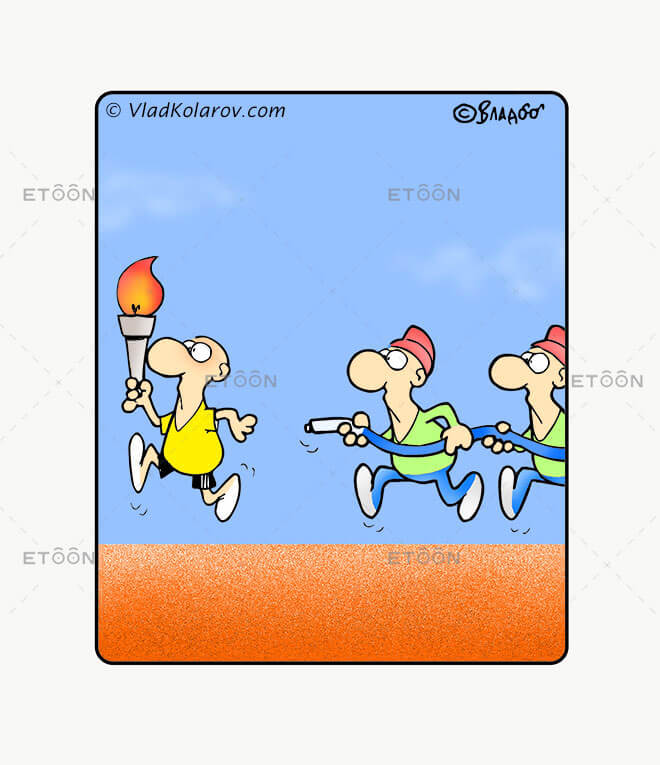 Olimpic fire: eToon cartoon for newsletters, presentations, websites, books and more