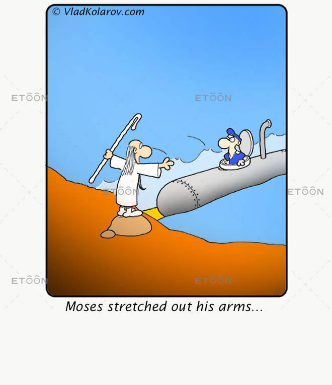 Moses stretched out his arms...: eToon cartoon for newsletters, presentations, websites, books and more