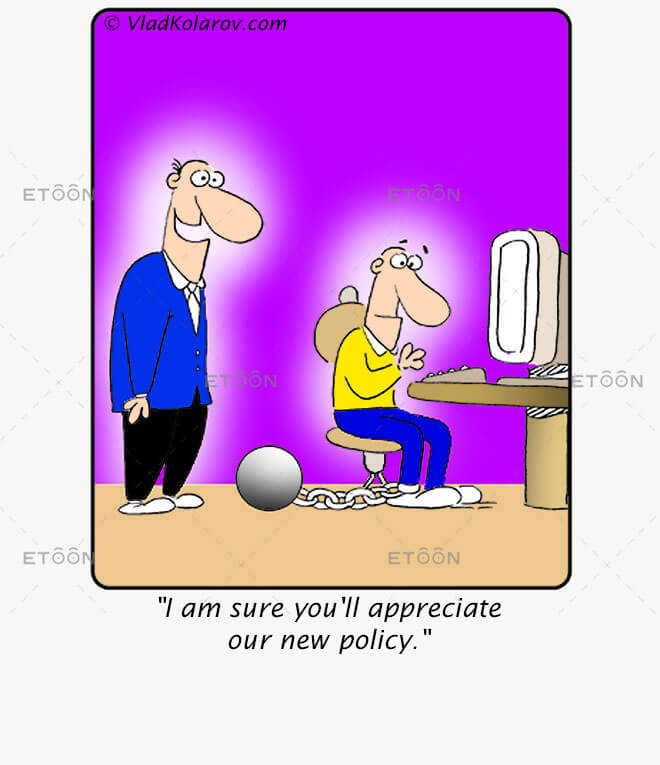 I am sure youll appreciate our new policy.: eToon cartoon for newsletters, presentations, websites, books and more