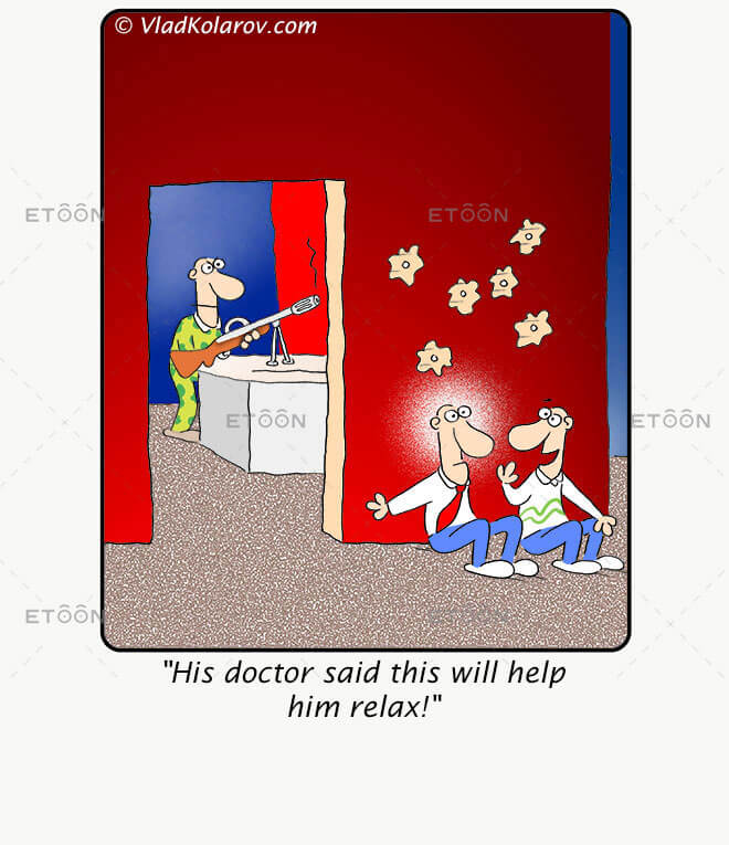 His doctor said this will help him relax!: eToon cartoon for newsletters, presentations, websites, books and more
