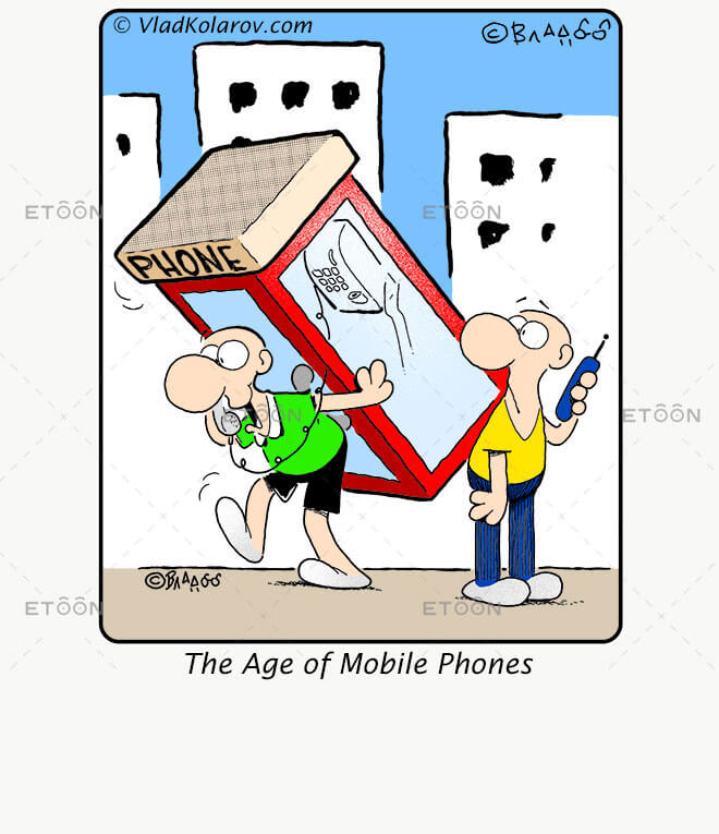 The Age of Mobile Phones: eToon cartoon for newsletters, presentations, websites, books and more