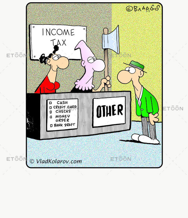 Income tax: eToon cartoon for newsletters, presentations, websites, books and more