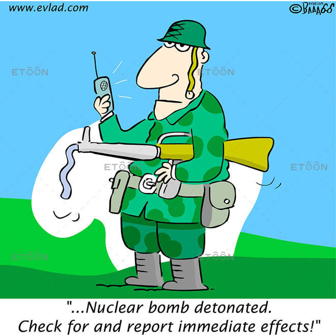 ...Nuclear bomb detonated...: eToon cartoon for newsletters, presentations, websites, books and more