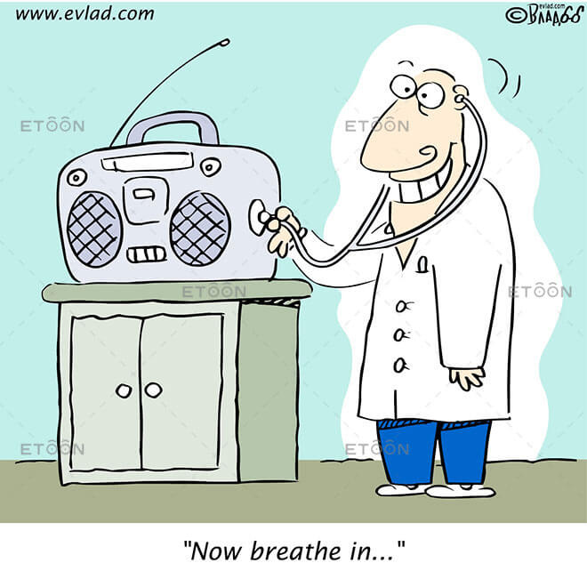 Doctor examining a radio: Now breathe in..: eToon cartoon for newsletters, presentations, websites, books and more