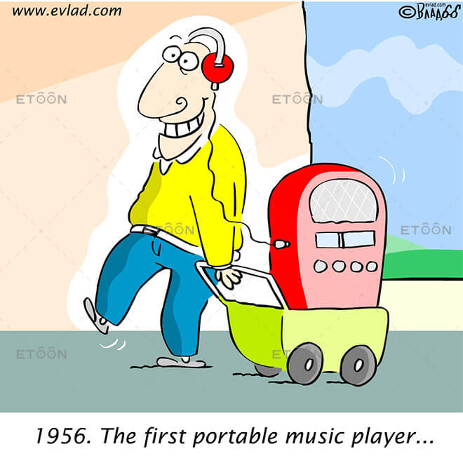 1956. The first portable music player...: eToon cartoon for newsletters, presentations, websites, books and more