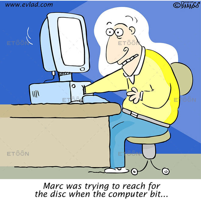 Marc was trying to reach for the disc when...: eToon cartoon for newsletters, presentations, websites, books and more