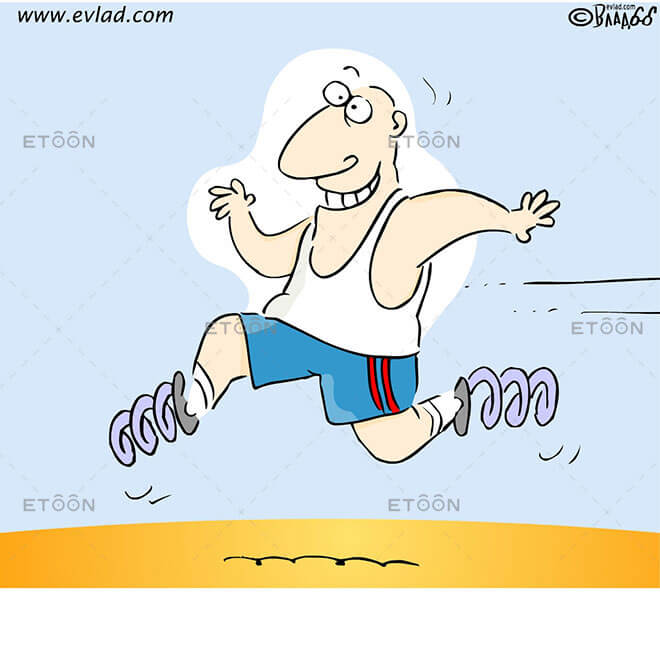 Man running with springs on his feet: eToon cartoon for newsletters, presentations, websites, books and more