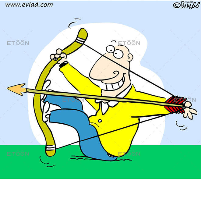 Man shooting an arrow: eToon cartoon for newsletters, presentations, websites, books and more