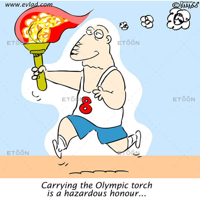 Carrying the Olympic torch is a hazardous honour...: eToon cartoon for newsletters, presentations, websites, books and more