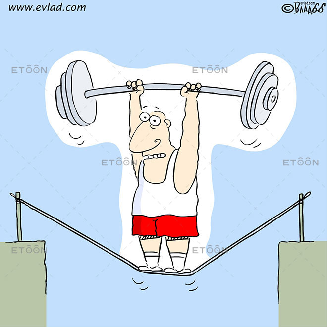 Man lifting weights on a rope above an abyss: eToon cartoon for newsletters, presentations, websites, books and more