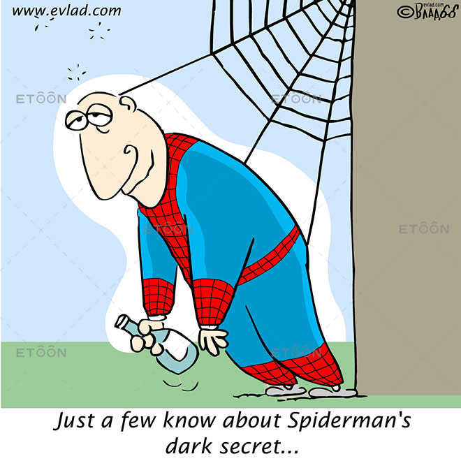 Just a few know about Spidermans dark secret...: eToon cartoon for newsletters, presentations, websites, books and more