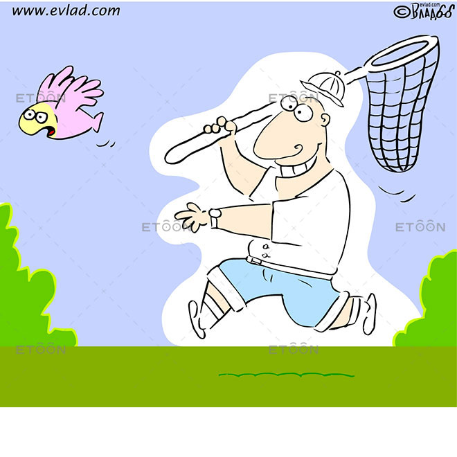 A scientist chasing a flying fish with a butterfly nest: eToon cartoon for newsletters, presentations, websites, books and more