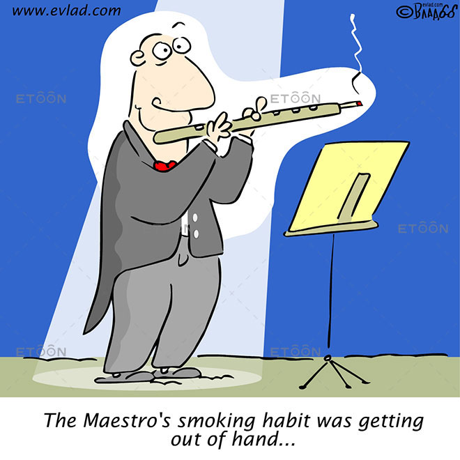 The Maestros smoking habit was getting out of hand...: eToon cartoon for newsletters, presentations, websites, books and more