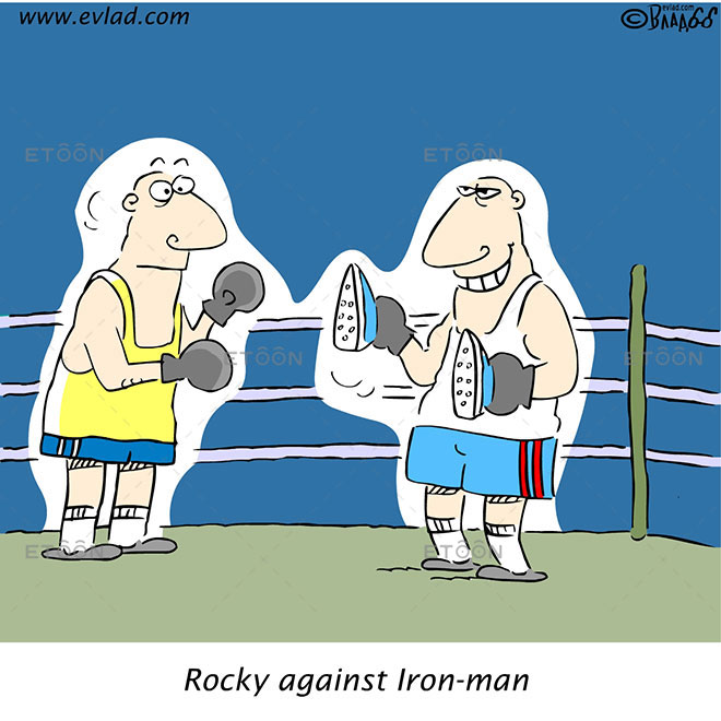 Rocky against Iron man: eToon cartoon for newsletters, presentations, websites, books and more
