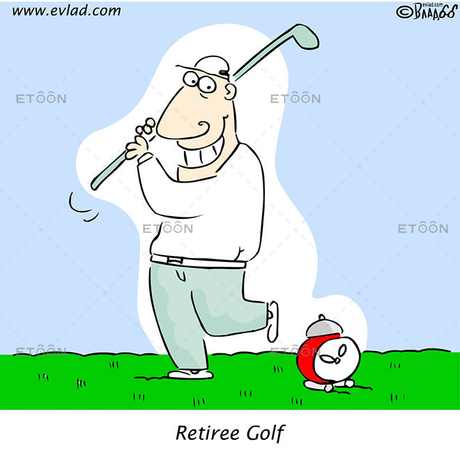 Retiree Golf: eToon cartoon for newsletters, presentations, websites, books and more