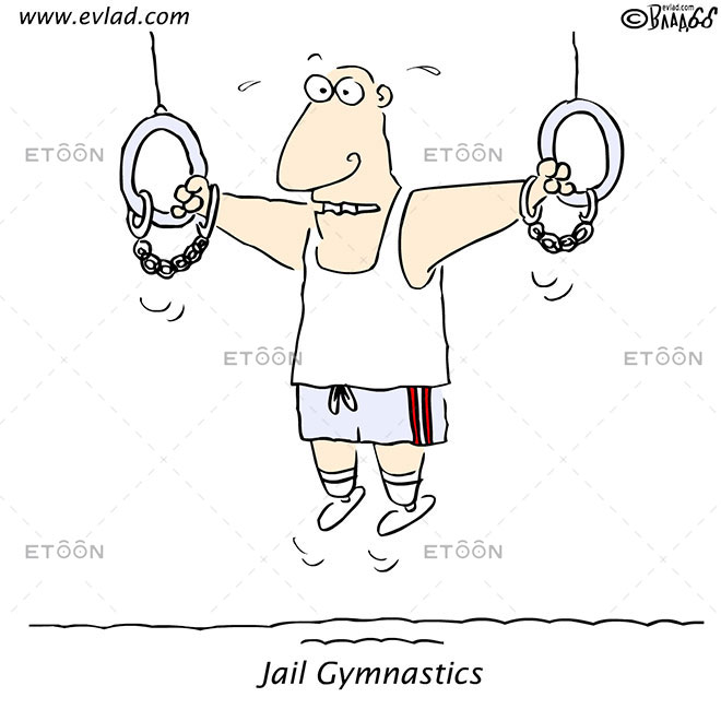 Jail Gymnastics: eToon cartoon for newsletters, presentations, websites, books and more