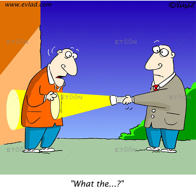 Two men with a flash light: What the...?: eToon cartoon for newsletters, presentations, websites, books and more