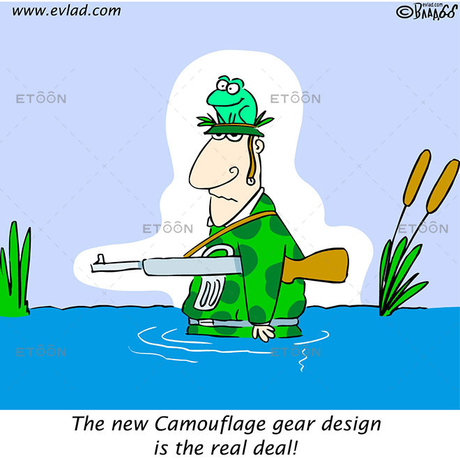 The new Camouflage gear design is the real deal!: eToon cartoon for newsletters, presentations, websites, books and more