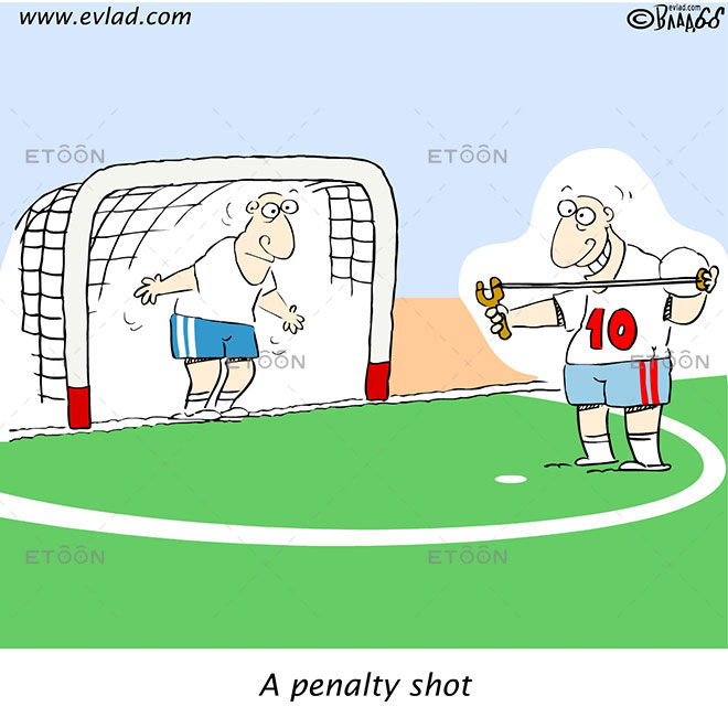 A penalty shot: eToon cartoon for newsletters, presentations, websites, books and more