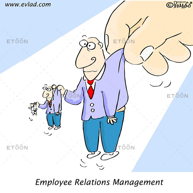 Hand holding men: Employee Relations Management: eToon cartoon for newsletters, presentations, websites, books and more