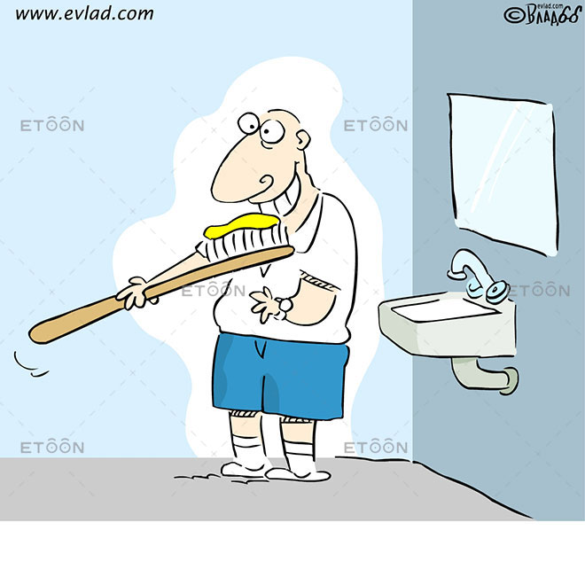 A man brushing his teeth with a huge brush: eToon cartoon for newsletters, presentations, websites, books and more