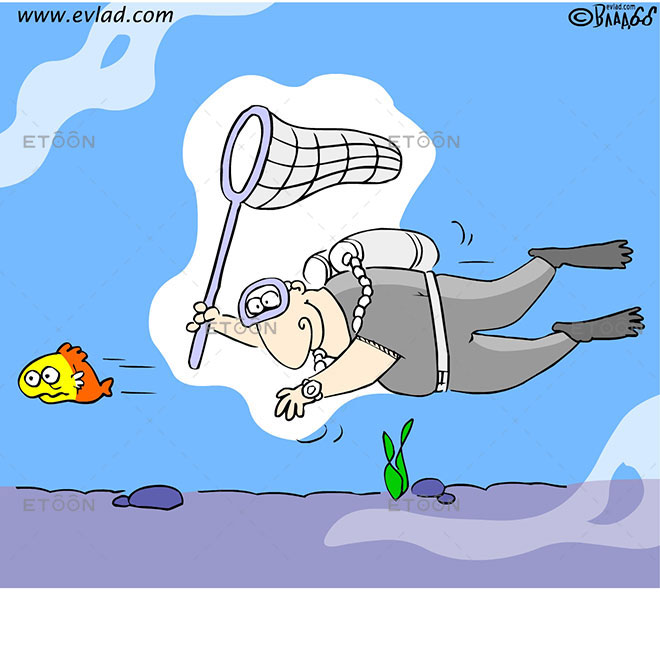 A scuba diver chasing after a fish: eToon cartoon for newsletters, presentations, websites, books and more