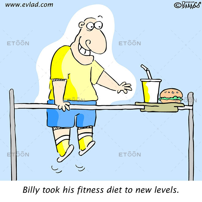 Billy took his fitness diet to new levels.: eToon cartoon for newsletters, presentations, websites, books and more