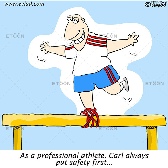 As a professional athlete, Carl always put safety first...: eToon cartoon for newsletters, presentations, websites, books and more