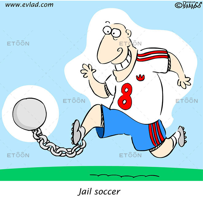 Jail soccer: eToon cartoon for newsletters, presentations, websites, books and more
