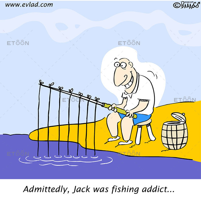 Admittedly, Jack was fishing addict...: eToon cartoon for newsletters, presentations, websites, books and more